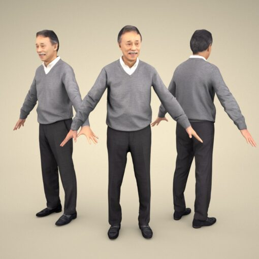 3Dmodel-PEOPLE-asian-casual-apose-senior
