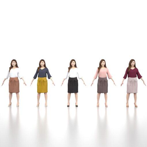 Animation-3Dmodel-Human-Asian-casualwoman