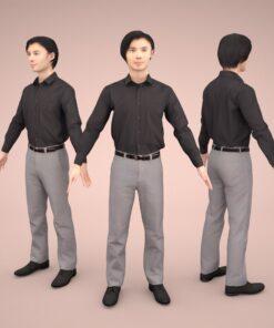 animation-3Dmodel-Human-asian-casual-black