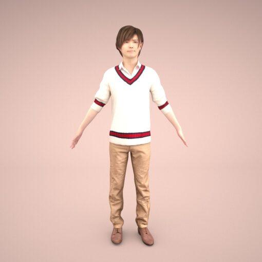 animation-3Dmodel-Human-asian-casual-youngman