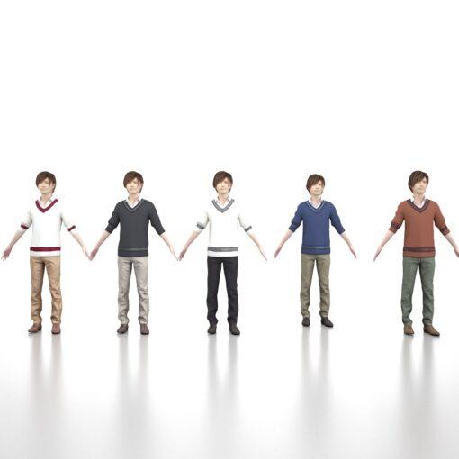 animation-3Dmodel-Human-asian-casualman