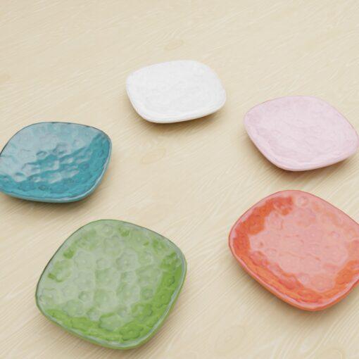 3Dモデル-花模様角皿