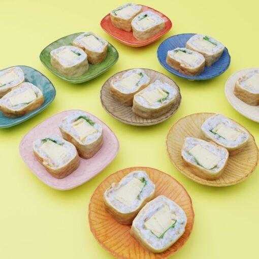 寿司フリー3Dモデル-いなり巻き寿司