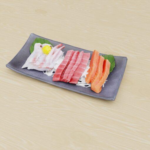 寿司フリー3Dモデル-葉と刺身3色