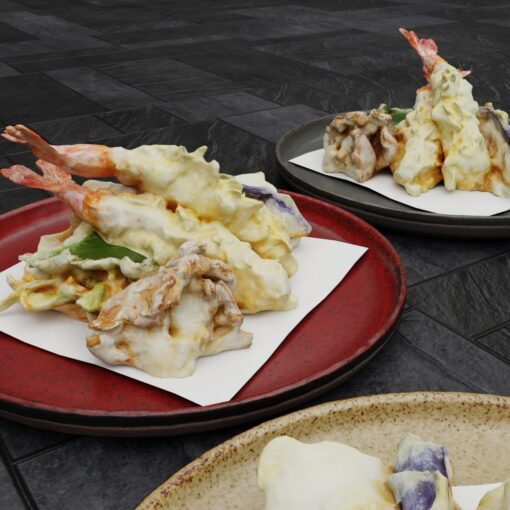 和食フリー3Dモデル-豪華な天ぷら