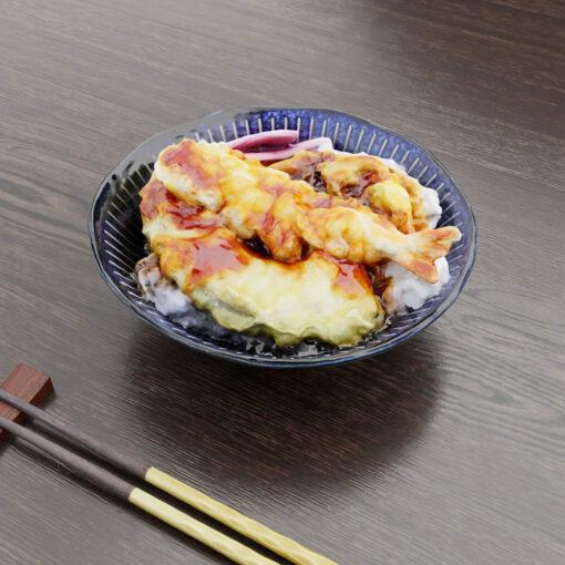 和食フリー3Dモデル-お昼の天丼