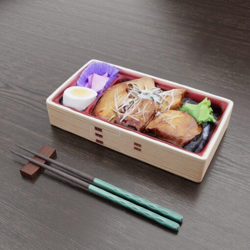 和食フリー3Dモデル-お高い角煮弁当
