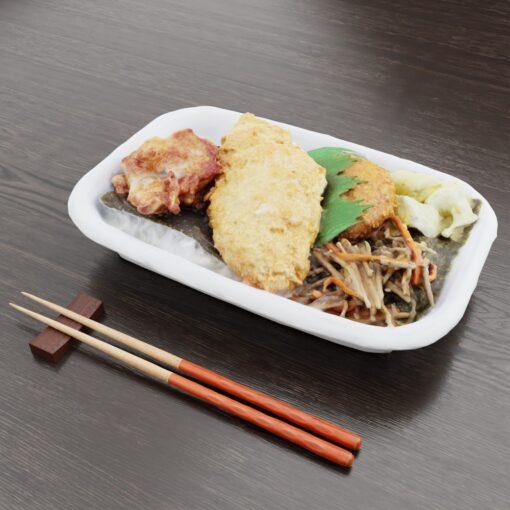 和食フリー3Dモデル-コンビニのり弁当