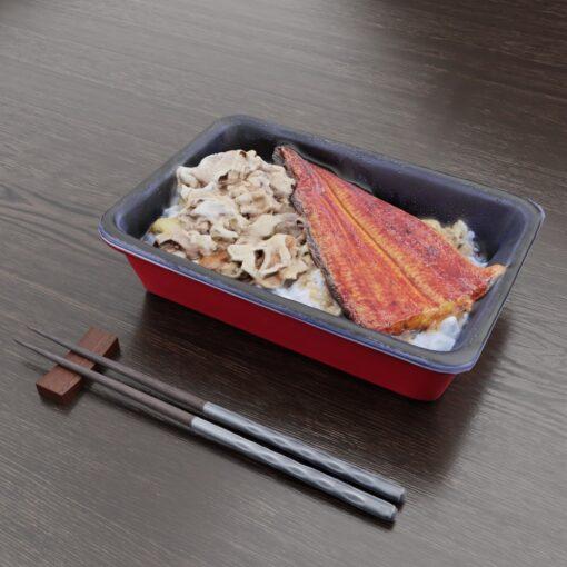 和食フリー3Dモデル-昼のうなぎ牛丼