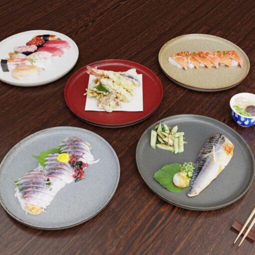 3Dモデル-プレート-和食-寿司-味の刺身-さば-寿司3D素材