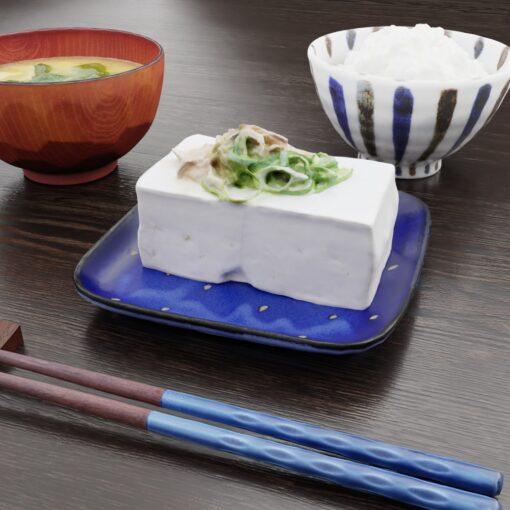 和食フリー3Dモデル-朝の豆腐