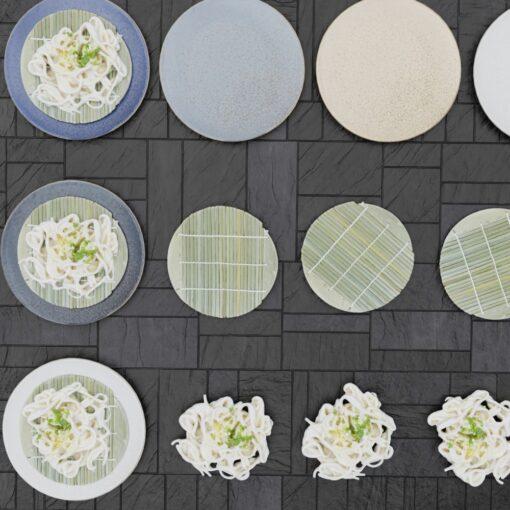和食フリー3Dモデル-うどん-皿-すだれ